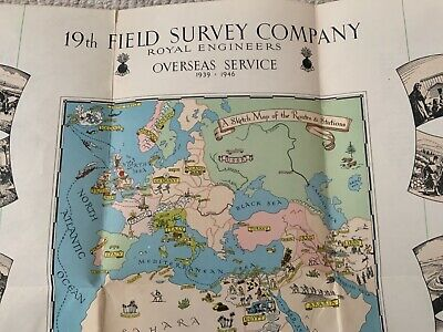 Original Ww2 19th Field Service Company Royal Engineers Overseas Service Map • 4.99£