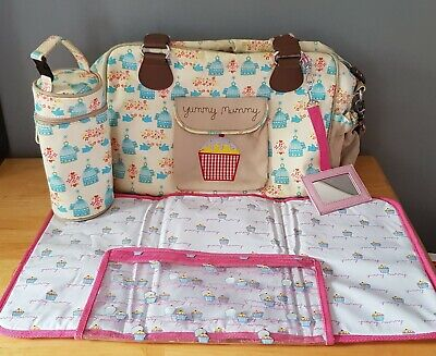 Yummy Mummy Changing Bag Birdcage Pattern Design With Bottle Warmer Pink Lining • 17.49£