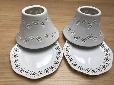 Yankee Candle - Pair/set Of Small Shades & Trays - White With Hearts. New • 24.99£
