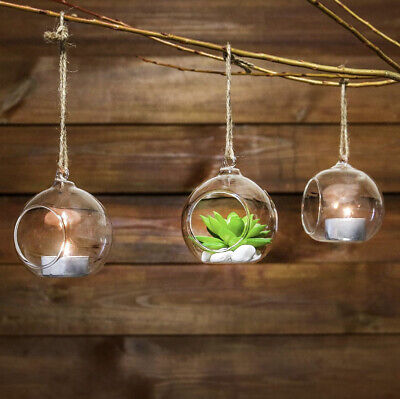 4 Hanging Tealight Candle Holders Clear Glass Tea Light Wedding Party Decor • 4£