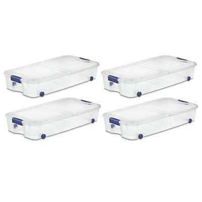 Under Bed Storage Box Containers Tubs Stackable Rolling 66 Qt Organizer 4 PACK • 81.72£