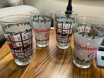 $ CDN58.64 • Buy Budweiser Christmas Clydesdales Happy Holidays 4 Beer Glasses Tumbler Tree Wagon
