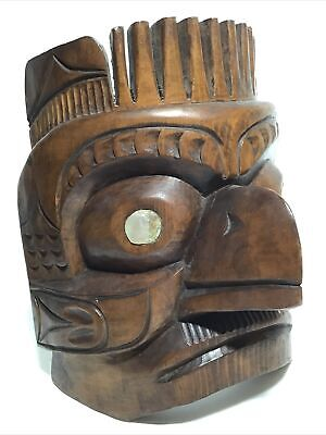 Hand Carved Wooden Grouse Mask Totem Native Canadian  Indian 1960 • 65£