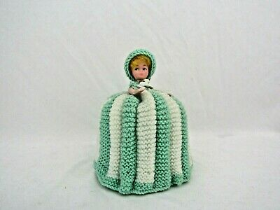 Vintage Toilet Roll Cover Doll Knitted Dress VGC • 10£