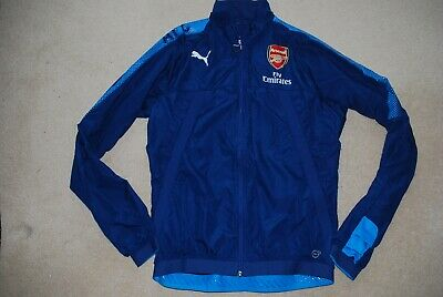 Arsenal Puma Wind Cell Player Worn Issue Blue Jacket Coat Large  Zip Up • 34.99£