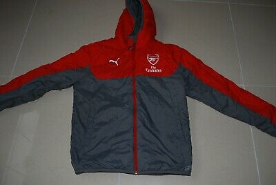 Arsenal Player Issue Puma Grey Red Reversible Hooded Jacket Size Large Training • 34.99£