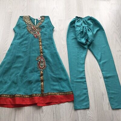 Girl's Indian Pakistani Sharara Suit Dress And Trousers Beaded Turquoise 28 AB • 14.29£