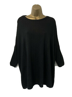 H&m Black Knitted Oversized Slouchy Jumper Sweater Tunic Size Xs-s Uk 10 • 7.99£