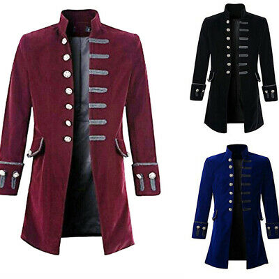 Men Tailcoat Steampunk Victorian Gothic Pirate Military Coat Jacket Costume Tops • 25.87£