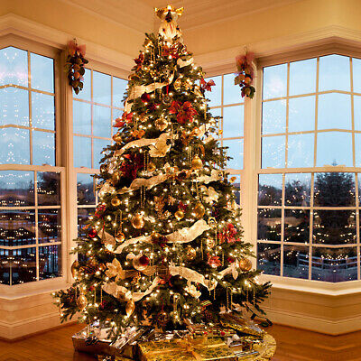 4.5FT 7FT 9FT Pine Christmas Tree Luxury Artificial Tree Warm White LEDs Pre Lit • 72.19£