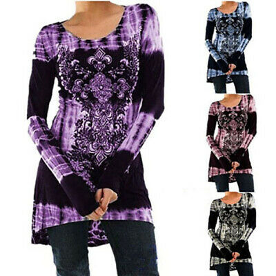 Plus Size Womens Long Sleeve Print T Shirt Ladies Casual Loose Tunic Tops Blouse • 8.99£