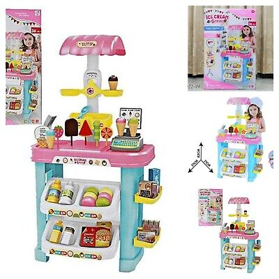 Ice Cream Sweet Shop Cart Shop Toy Pretend Play House Children Kids Set UK • 29.99£
