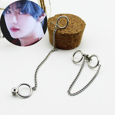 Kpop New Tassel Earrings Kim Taehyung Chic Titanium Steel Ear Stud  • 3.99£