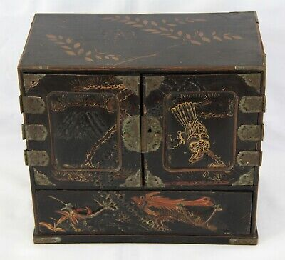 Charming Antique Japanese Black Lacquer Table Cabinet C.1890 • 125£