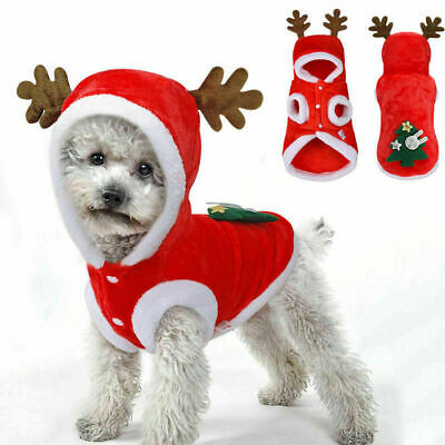 Pet Cat Santa Costume Dog Christmas Small Coat Outfit Clothes Hoodie Jumper Xmas • 4.55£