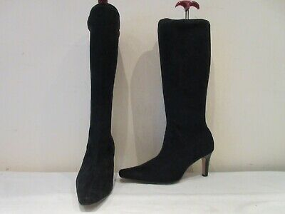 Marks And Spencer Black Stretch Mid Height High Heel Pull On Boots Uk 7 (3621) • 20£