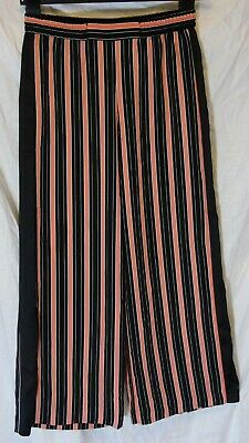 £9.95 • Buy Girls River Island Black Coral Pink Stripe Floaty Palazzo Trousers Age 10 Years