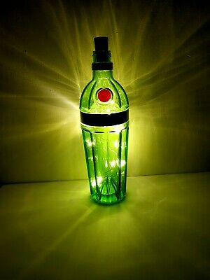 Tanqueray 10 Gin Green Bottle Lamp Warm White Colour LED Lights Gift Decoration • 6£