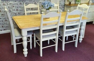 Dining Table & 6 Hairs  Finished In Country Cream , Designers Guild Seats  • 580£