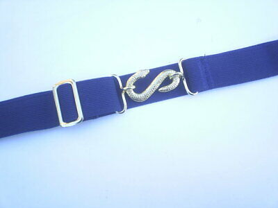 Ladies Elastic Snake Belts Fits 22 To 34 Inch Waist Colour Navy Fully Adjustable • 2.99£