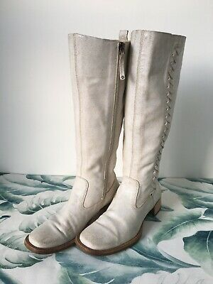 Hudson White Western GOGO Italian Leather Suede Knee High Boots Size 37 4 • 49.99£