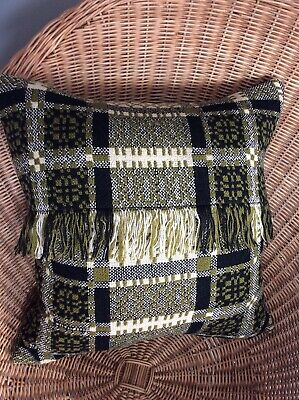 LARGE VINTAGE WELSH TAPESTRY CUSHION HANDMADE WOOL WOVEN BLANKET SQUARE 44x44 • 55£