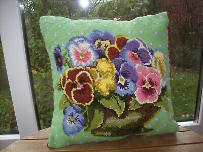 Completed Ehrman Needlepoint Tapestry Cushion - Kaffe Fassett Pansy Bowl Design • 12.49£
