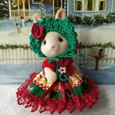 Doll Clothes Crochet/Fabric/Lace Christmas Dress Set For 3 3/4  Sylvanian Rabbit • 5.99£