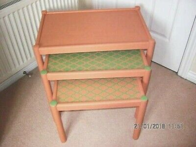 Pine Nest Of Tables - Upcycled -  Hand Painted And Stencilled • 35£