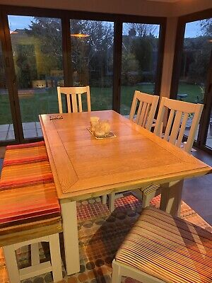 Oak And Wooden Table And 4 Chairs Plus Bench. Designers Guild Fabric Cushions. • 250£