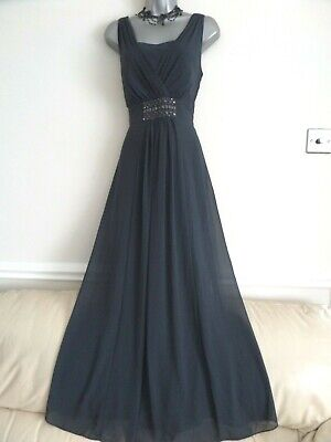 Jacques Vert Gorgeous Charcoal Grey Chiffon Beaded Grecian Style Maxi Dress 12 • 7.99£