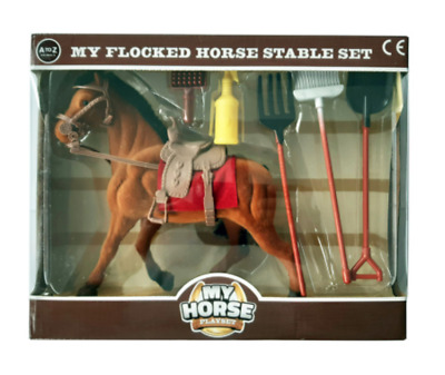 MY HORSE Kids Flocked Horse Toy Stable Set With Accessories  • 12.99£