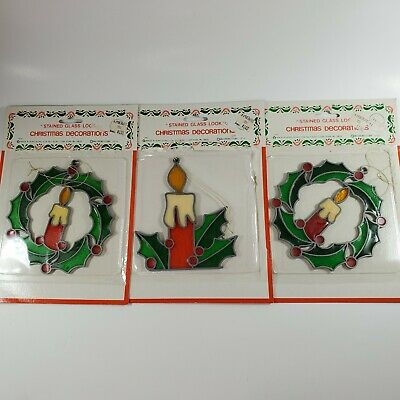 $ CDN23.81 • Buy Vintage Christmas Crystalline McCrory Window Decoration Stained Glass Lot Of 3