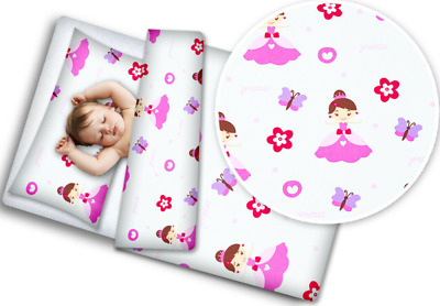 £21.99 • Buy BABY 4PC BEDDING SET WITH PILLOW AND DUVET NURSERY 120X90CM Princess Butterfly