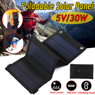 £15.68 • Buy 30W Solar Panel Kit Folding Portable Power Charger USB Camping Travel For Phone