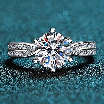 3 CT Round Cut Brilliant Diamond Engagement Wedding Ring In 14k White Gold Over • 84.28£