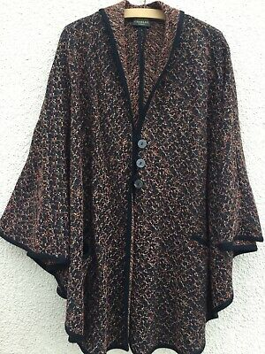 CAROLINE CHARLES BROWN BLACK WOOL Mix MARL PONCHO CAPE WRAP COAT TOP M L • 59.99£