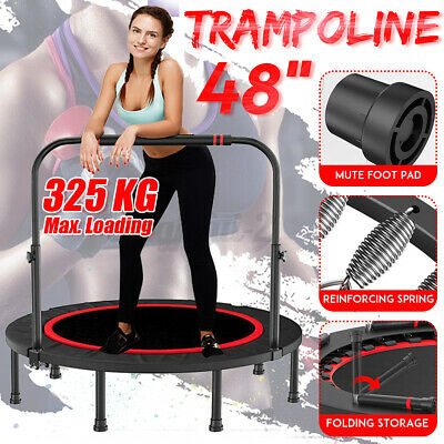 48'' Foldable Trampoline Exercise Fitness Rebounder Cardio Trainer Gym + Handle • 52.88£
