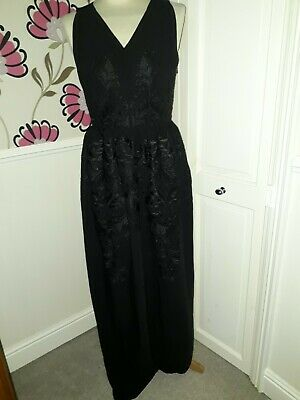 Ted Baker Xylina Black Chiffon Embroidered Full Length Evening Dress Size 10  • 39.99£