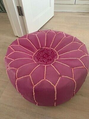 Graham & Green Pink Leather Moroccan Style Pouffe, Used.  • 10£