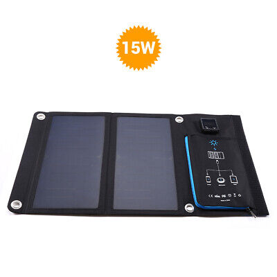 Portable 15W 5V Solar Charger Panel Mobile Power Bank W/ USB For IPhone Tablets • 42.82£
