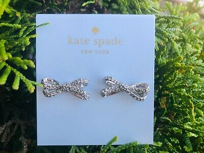 $ CDN42.79 • Buy Kate Spade Tied Up Bow Studs Earrings Silver Rhodium Plated Pave New + Dust Bag