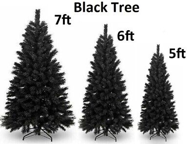 5/6/7ft Artificial Black Christmas Tree Metal Stand Bushy Traditional Decoration • 34.99£
