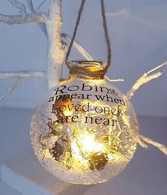 Light Up Christmas Memorial Robin Bauble. Robins Appear When Loved Ones Are Near • 9.99£