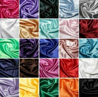£2.85 • Buy Silky Satin Fabric Dress Plain Coloured Craft Sewing Wedding Material 150cm Wide