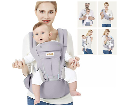 Viedouce Baby Carrier Ergonomic With Hip Seat, Lightweight Cotton - Grey • 34.99£