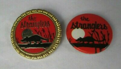 The Stranglers 2 X Vintage 1980s Metal & Tin Badges Pins Buttons Punk  • 9.99£