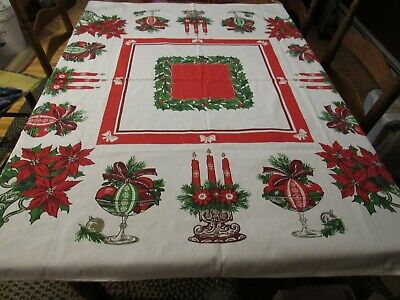 $ CDN21.78 • Buy Excellent Vintage Christmas Tablecloth 50 X51  Poinsettia Candlelabra Ornaments