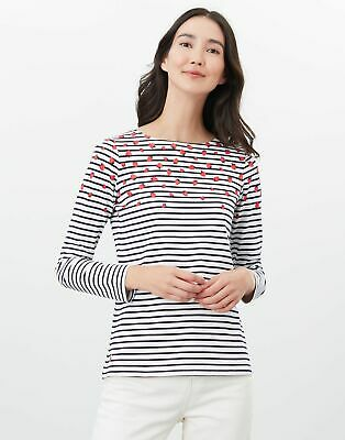 Joules Womens Harbour Print Long Sleeve Jersey Top - Strawberry Stripe - 12 • 14.95£