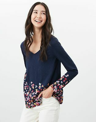 Joules Womens Harbour Lightweight Swing V Neck Jersey Top - Navy Floral • 14.95£